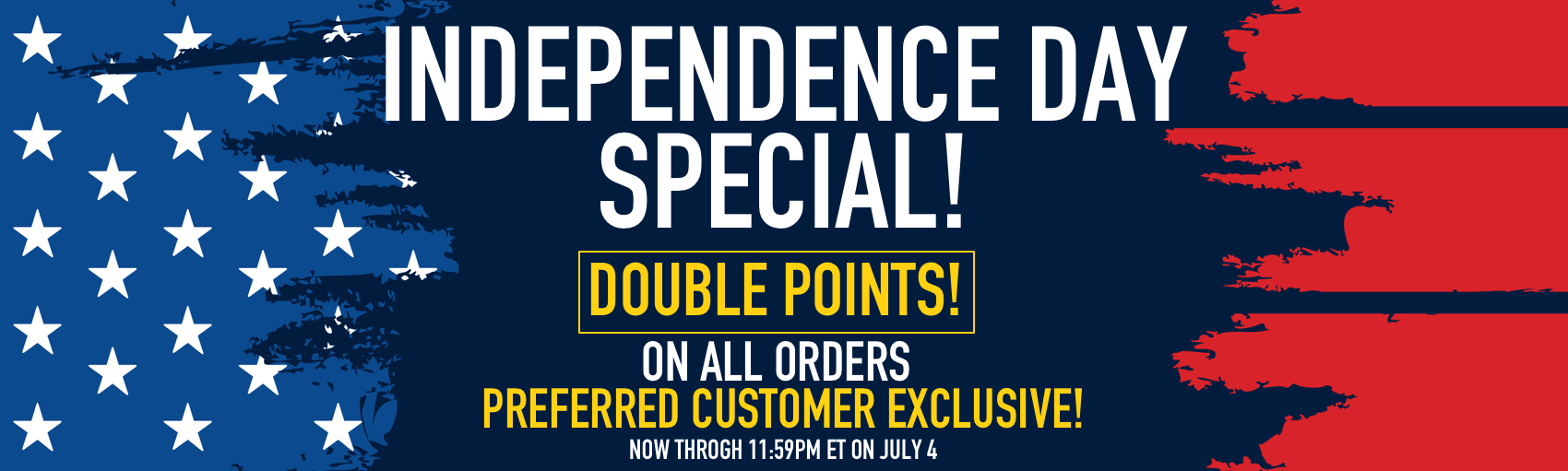 Independence Day 2020 Double Points Only Banner