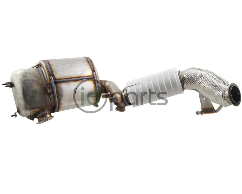 Downpipe assembly with diesel particulate filter for the 2010-2014 Jetta TDI,  Golf TDI, Sportwagen TDI and Beetle TDI with engine code CJAA.