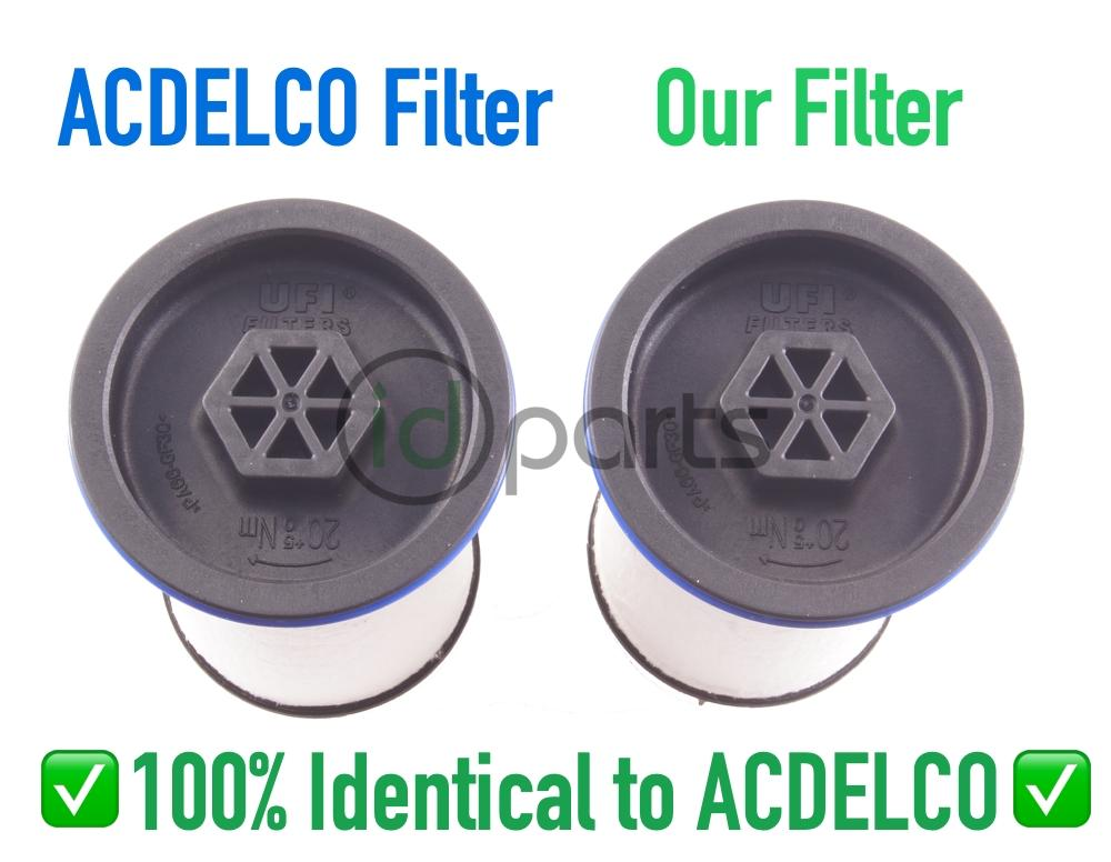 includes both (2) fuel filters  these are direct from the oe manufacturer -  ufi is the oe manufacturer for chevrolet/gmc both factory and acdelco