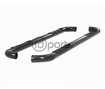 "3"" Round Semi-Gloss Black Stainless Steel Side Bars [Crew Cab] (Super Duty)"