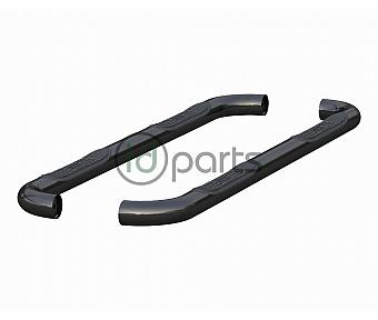 "3"" Round Semi-Gloss Black Stainless Steel Side Bars [Extended Cab] (Ram 1500)"