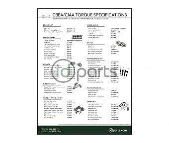 Torque Specifications Poster (CBEA CJAA)